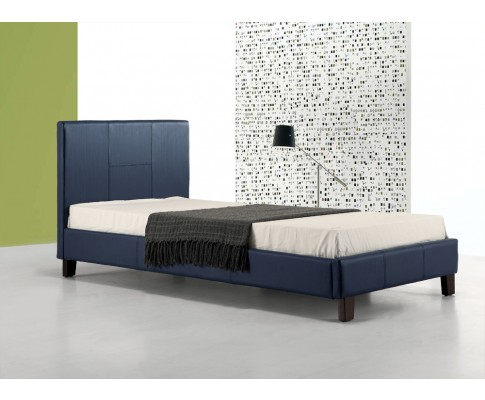 Single PU Leather Bed Frame Blue - Bedz Galore
